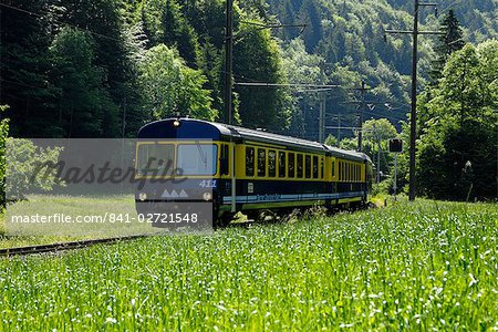 Mountain train, Bernese Oberland, Swiss Alps, Switzerland, Europe