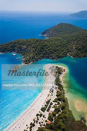 Aerial view of Blue Lagoon and Belcekiz Beach, Oludeniz, near Fethiye, Mediterranean Coast (Turquoise Coast), Anatolia, Turkey, Asia Minor, Eurasia
