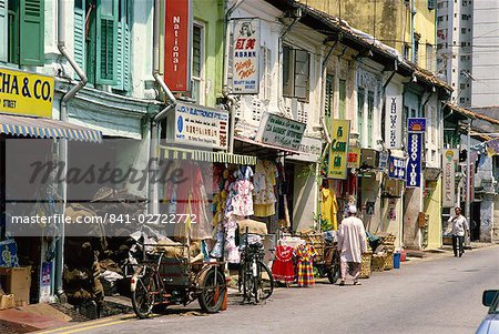 Street scene of shops and signs in Little India on Dunlop Street in the Indian quarter around Serangoon Road in Singapore, Southeast Asia, Asia Stock Photo - Rights-Managed, Image code: 841-02722772