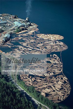 Aerial view of logs in the river beside a saw mill in British Columbia, Canada, North America Stock Photo - Rights-Managed, Image code: 841-02824677