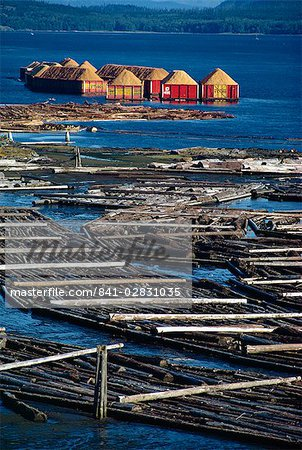 Logs booms on the Campbell River, British Columbia, Canada, North America Stock Photo - Rights-Managed, Image code: 841-02831035