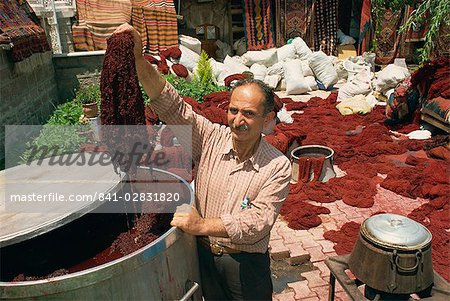 Dyeing wool in outdoor bazaar, Konya, Anatolia, Turkey, Asia Minor, Eurasia Stock Photo - Rights-Managed, Image code: 841-02831820