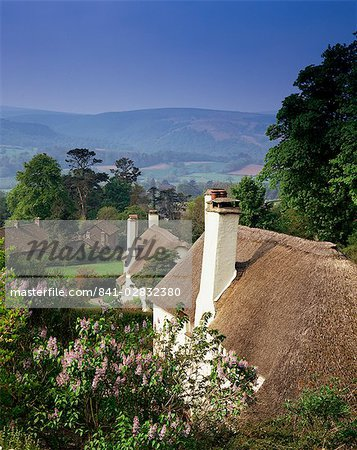Thatched cottages at Selworthy Green, with Exmoor beyond, Somerset, England, United Kingdom, Europe    Stock Photo - Premium Rights-Managed, Artist: robertharding, Code: 841-02832380