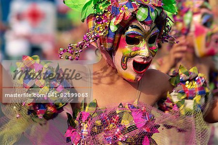 Portrait of a masked dancer at Mardi Gras carnival, in Iloilo City on Panay Island, Philippines, Southeast Asia, Asia Stock Photo - Rights-Managed, Image code: 841-02899063