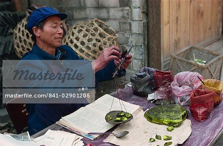 Man selling chemical dyes for domestic textile industry, Kaili, Guizhou, China, Asia Stock Photo - Rights-Managed, Image code: 841-02901205