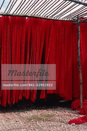 Dyed cotton hanging to dry, Rajasthan state, India, Asia Stock Photo - Rights-Managed, Image code: 841-02901922