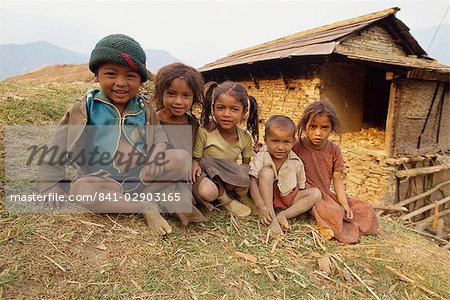 Portrait of young children, Gandruk, Nepal, Asia Stock Photo - Rights-Managed, Image code: 841-02903165