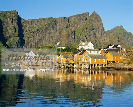 Moskenesoya, fishing village on Sakrisoya Island, Lofoten Islands, Nordland, Norway, Scandinavia