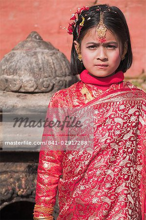 Portriat of a young girl, Kumari (Living Goddess festival), Durbar Square, Kathmandu, Nepal, Asia Stock Photo - Rights-Managed, Image code: 841-02917288