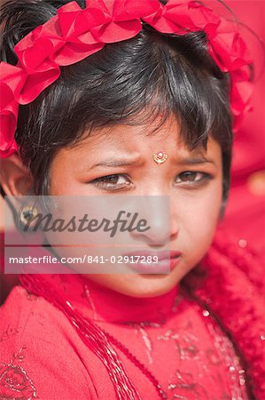 Portriat of a young girl, Kumari (Living Goddess festival), Durbar Square, Kathmandu, Nepal, Asia Stock Photo - Rights-Managed, Image code: 841-02917289