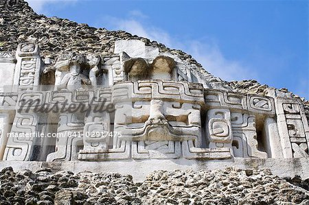 Frieze on the 130ft high El Castillo at the Mayan ruins at Xunantunich, San Ignacio, Belize, Central America Stock Photo - Rights-Managed, Image code: 841-02917475
