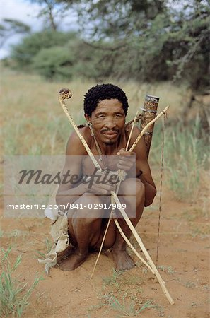 Bushman with bow and arrows, Intu Afrika game reserve, Namibia, Africa Stock Photo - Rights-Managed, Image code: 841-02917989