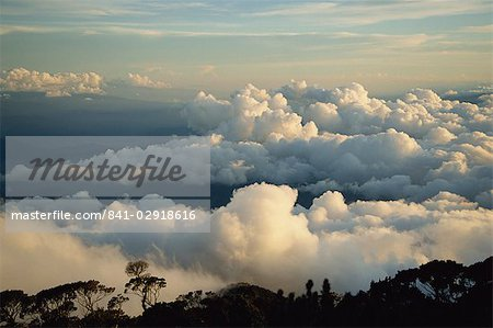 Cloudscape at dusk from Mt. Kinabalu, Sabah, Malaysia, Borneo, Southeast Asia, Asia