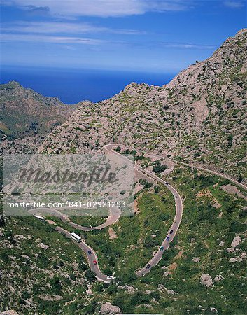 Hairpin bends on winding road up a rocky hill at La Alobra, Majorca, Balearic Islands, Spain, Europe Stock Photo - Rights-Managed, Image code: 841-02921253