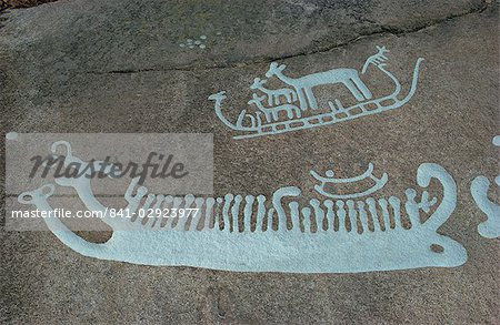 Bronze Age rock carvings dating from between 1500 and 1000 BC, Bohuslan, Tanum, UNESCO World Heritage Site, Sweden, Scandinavia, Europe Stock Photo - Rights-Managed, Image code: 841-02923977