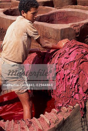Young man dyeing leather, Medina, Fes, Morocco, North Africa, Africa Stock Photo - Rights-Managed, Image code: 841-02944843