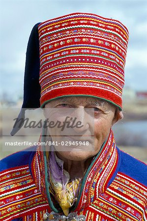 Sami man (Lapplander) in Kautokeino costume, Finnmark, Arctic Norway, Norway, Scandinavia, Europe Stock Photo - Rights-Managed, Image code: 841-02945948