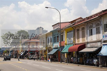 Colourful old shophouses in Serangoon Road, main commercial thoroughfare in Little India, Singapore, Southeast Asia, Asia Stock Photo - Rights-Managed, Image code: 841-02946329