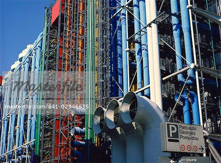 Exterior detail of the Pompidou Centre, Beaubourg, Paris, France, Europe Stock Photo - Rights-Managed, Image code: 841-02946635