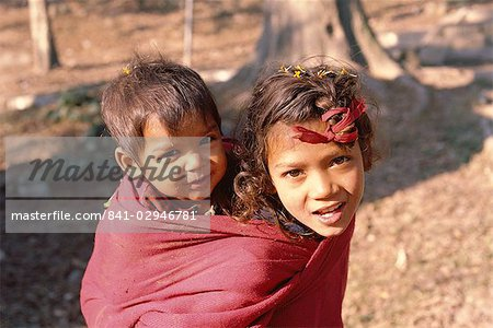 Head and shoulders portrait of two children, Kathmandu, Nepal, Asia Stock Photo - Rights-Managed, Image code: 841-02946781