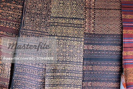 Traditional ikat weavings, Bena Village, Flores, Indonesia, Southeast Asia, Asia Stock Photo - Rights-Managed, Image code: 841-02946978