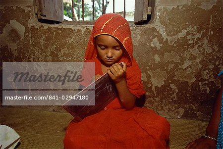 Girl in primary school in the slums, Dhaka, Bangladesh, Asia Stock Photo - Rights-Managed, Image code: 841-02947180