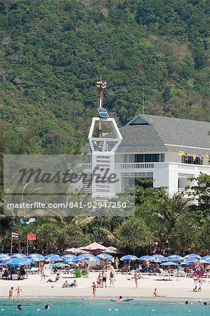 Tsunami warning tower, Kata Beach, Phuket, Thailand, Southeast Asia, Asia