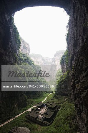 Temple building at Wulong Natural Rock Bridges, UNESCO World Heritage Site, Chongqing Municipality, China, Asia Stock Photo - Rights-Managed, Image code: 841-03056059