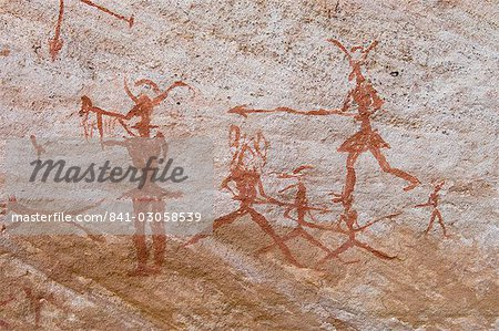 Prehistoric rock paintings, Akakus, Sahara desert, Fezzan, Libya, North Africa, Africa Stock Photo - Rights-Managed, Image code: 841-03058539
