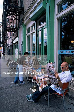 Young people outside the Colonial cafe in Nolita neighbourhood, Manhattan, New York, United States of America, North America Stock Photo - Rights-Managed, Image code: 841-03061836