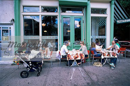 Young people outside the Colonial cafe in Nolita neighbourhood, Manhattan, New York, United States of America, North America Stock Photo - Rights-Managed, Image code: 841-03061837