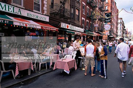 People sitting at an outdoor restaurant, Little Italy, Manhattan, New York, New York State, United States of America, North America Stock Photo - Rights-Managed, Image code: 841-03061839