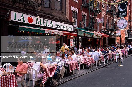 People sitting at an outdoor restaurant, Little Italy, Manhattan, New York, New York State, United States of America, North America Stock Photo - Rights-Managed, Image code: 841-03061840