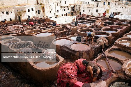 The tanneries souk in the Medina (old town), Fes el Bali, Fes, Morocco, North Africa, Africa Stock Photo - Rights-Managed, Image code: 841-03062247