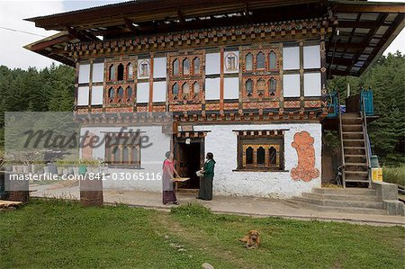 Phallus symbols on house to ward off evil spirits, Bumthang Valley ...