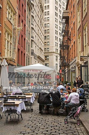 Outdoor dining on Stone Street, Lower Manhattan, New York City, New York, United States of America, North America Stock Photo - Rights-Managed, Image code: 841-03066370