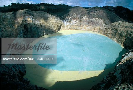 One of three crater lakes at the summit of Kelimutu volcano near Moni, soil chemical creates the unusual colours, island of Flores, Indonesia, Southeast Asia, Asia Stock Photo - Rights-Managed, Image code: 841-03067387