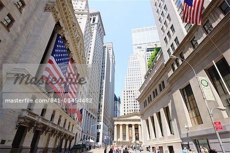The New York Stock Exchange, Broad Street, Wall Street, Manhattan, New York City, New York, United States of America, North America Stock Photo - Rights-Managed, Image code: 841-03454482