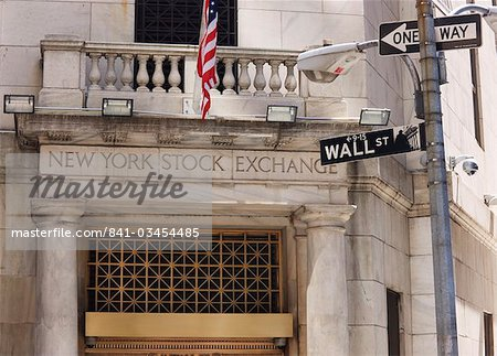 The New York Stock Exchange, Wall Street, Manhattan, New York City, New York, United States of America, North America Stock Photo - Rights-Managed, Image code: 841-03454485