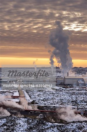 Svartsengi (Blue Lagoon) Geothermal Power Station at sunset, Grindavik, Reykjanes Peninsula, Iceland, Polar Regions Stock Photo - Rights-Managed, Image code: 841-03507762