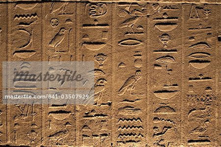 Hieroglyphs adorn the walls of the Temple of Philae, UNESCO World Heritage Site, near Aswan, Egypt, North Africa, Africa Stock Photo - Rights-Managed, Image code: 841-03507929