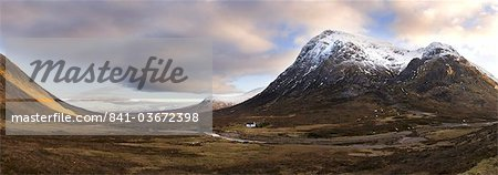 Winter panoramic view of Rannoch Moor showing lone whitewashed cottage on the bank of a river, dwarfed by snow-covered mountains, Rannoch Moor, near Fort William, Highland, Scotland, United Kingdom, Europe Stock Photo - Rights-Managed, Image code: 841-03672398