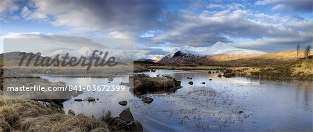 Panoramic view across Lochain Na h'Achlaise on clear winter morning towards the snow-covered mountains of the Black Mount range, Rannoch Moor, near Fort William, Highland, Scotland, United Kingdom, Europe Stock Photo - Rights-Managed, Image code: 841-03672399