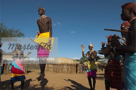 Samburu tribesmen performing traditional dance, Loisaba Wilderness Conservancy, Laikipia, Kenya, East Africa, Africa Stock Photo - Rights-Managed, Image code: 841-03673565