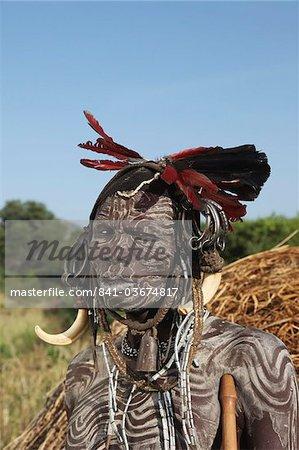 Mursi man, Omo Valley, Ethiopia, Africa