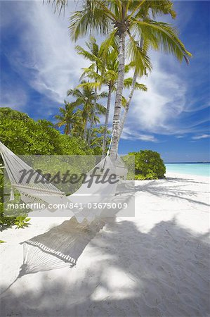 Hammock on empty tropical beach, Maldives, Indian Ocean, Asia Stock Photo - Rights-Managed, Image code: 841-03675009