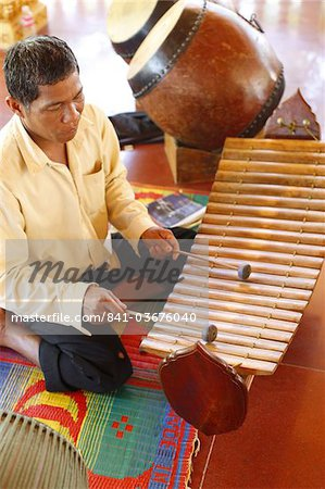 Gamelan instruments in a Cambodian pagoda, Siem Reap, Cambodia, Indochina, Southeast Asia, Asia Stock Photo - Rights-Managed, Image code: 841-03676040