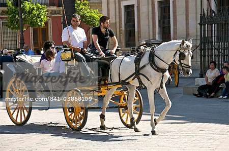 Tourists in horsedrawn cart, Seville, Andalucia, Spain, Europe Stock Photo - Rights-Managed, Image code: 841-03868109