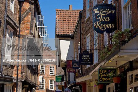 The Shambles, the narrow street of half-timbered old medieval buildings where butchers used to sell sides of meat from hooks and rails that are still visible above the windows, York, Yorkshire, England, United Kingdom, Europe Stock Photo - Rights-Managed, Image code: 841-03868218