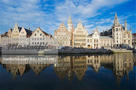 Reflection of waterfront town houses, Ghent, Flanders, Belgium, Europe Stock Photo - Rights-Managed, Image code: 841-03868392